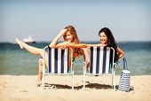 image of sunbather  - summer holidays and vacation  - JPG
