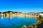 Sestri Levante, Silence Bay Sea Harbor And Beach View. Liguria, Italy