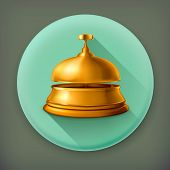 Reception Bell, long shadow vector icon