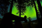 Relaxed Taiga Person Watching Northern Lights
