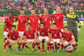 VIENNA,  AUSTRIA - JUNE  7 The Austrian team poses before the world cup qualifier game on June 7, 20