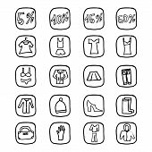 Hand drawn vector illustration icons for website