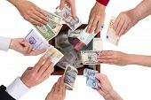foto of currency  - different currencies concept crowdfunding or global financing - JPG