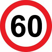 60 speed limitation traffic sign