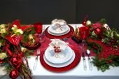 foto of christmas dinner  - holiday table decoration for winter and christmas theme - JPG