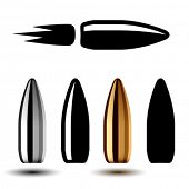foto of ammo  - vector drawing weapon gun bullets - JPG