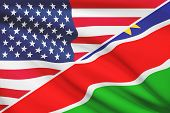 Series Of Ruffled Flags. Usa And Republic Of Namibia.