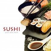 stock photo of sushi  - sushi rolls with sushi ingredients - JPG