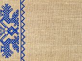 Linen Texture With Russian Traditional Ornament.background.