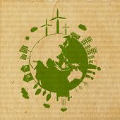 World Environment Day concept with illustration of urban city and rural town on mother earth globe on grungy brown background.
