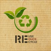 World Environment Day concept with illustration of recycle symbol and green leaves on grungy brown b