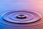 Water Drop Close Up With Concentric Ripples Colourful Blue And Amber Surface