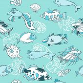 Blue Seamless pattern  with  fishes