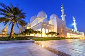 Grand Mosque in Abu Dhabi at night, United Arab Emirates