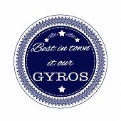 foto of gyro  - best in town it our gyros grunge stamp with on vector illustration - JPG