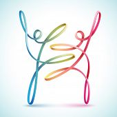 Dancing string figures vector