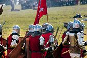 Grunwald, Poland - July 16, 2011:  Heay Armored Medieval Knights Ready For The Battle At
