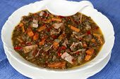 Beluga Lentil Soup with Ham and Red Peppers