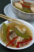 Bowl and Tureen of Asian Chicken Soup