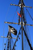 Black Masts With A Pirate Flag
