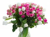 foto of bunch roses  - bunch of fresh pink roses and white tulips   isolated on white background - JPG