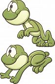 Cute cartoon leaping frog. Vector clip art illustration with simple gradients. Each on a separate la