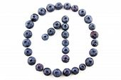 Number one concept made of fresh blueberries