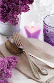Table Setting With Lilac Flowers