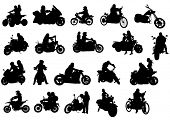 Silhouettes of moto bike whit people