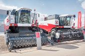 Harvesters on agricultural machinery exhibition