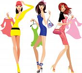 stock photo of mini dress  - fashion shopping girls with dress - JPG