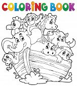 Coloring book Noahs ark theme 1 - eps10 vector illustration.