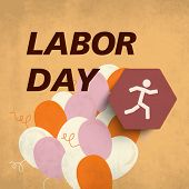 Vintage poster, banner or flyer design with stylish text Labor Day on brown background.