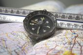 Map, ruler, and compass