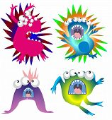 stock photo of vicious  - funny monsters composition that can be viruses or bacteria - JPG