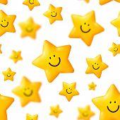 Happy yellow stars vector seamless pattern