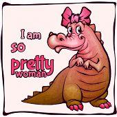 Vector illustration of crocodile girl in cartoon style