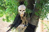 Death in a black hood and other scary Halloween decorations