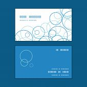 Vector abstract blue circles horizontal corner frame pattern business cards set