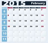 Calendar 2015 February vector design template