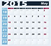 Calendar 2015 May vector design template