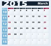 Calendar 2015 March vector design template