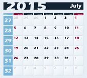 Calendar 2015 July vector design template