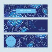 Vector blue night flowers horizontal banners set pattern background