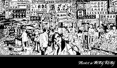 Market in Hong Kong - Vector illustration (all chinese characters are fictitious)