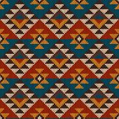 picture of aztec  - Vector illustration of seamless tribal knitted wool aztec design pattern - JPG