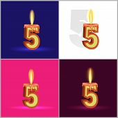 the number five in the form of a burning candle