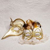 Venetian Carnival Masks On White Background