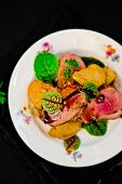 pic of duck breast  - duck breast with pears and a green salad - JPG