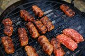 Traditional romanian outdoor grill meat food -